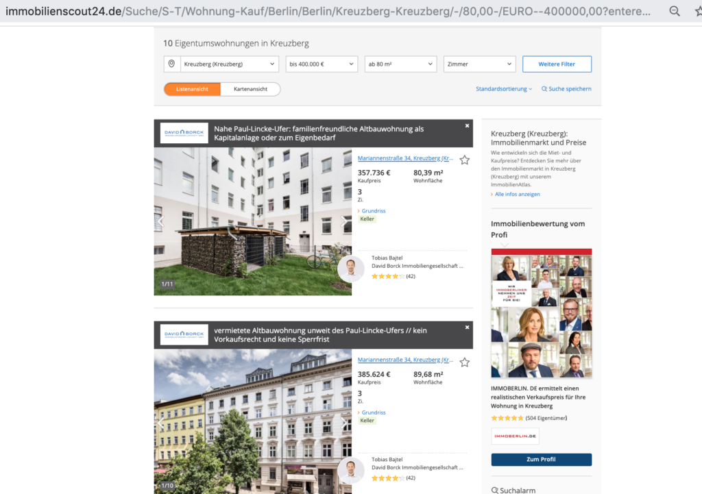 Suche auf Immobilienscout